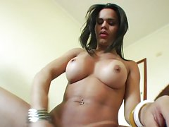 Cute tgirl strokes her cock while in panties