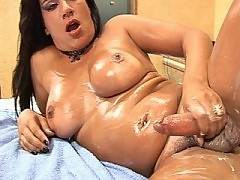 Pink pantied shemale stroking her meat