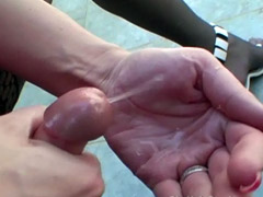 Cute shemale cum in her hand