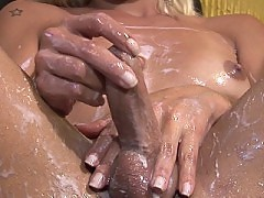 Pretty shemale loves to soak her ass in cream