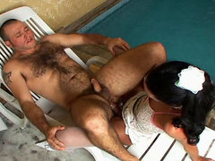 White-stockinged ladyboy getting her dick jerked for some steamy anal play
