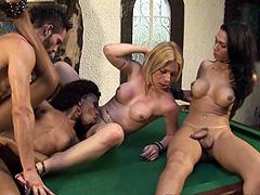 Three trannies seduce gay for hard orgy