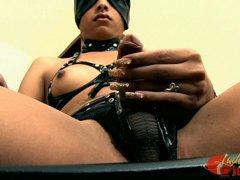 Naughty tgirl Mint jerking her ladystick