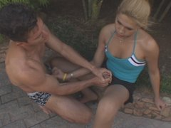 Blonde shemale jerking off guy�s cock longing for mind-blowing ass-ramming
