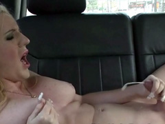 Blonde shemale jerk off in her car and cum