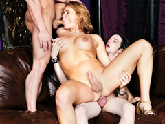 Blonde tranny sucking on a big dick gets fucked in the ass.