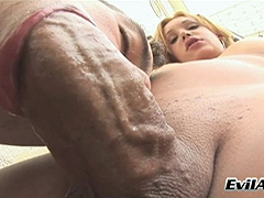 Blonde shemale and guy fuck each others