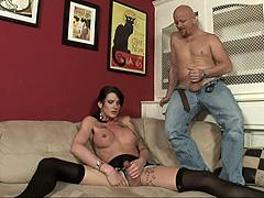 Tgirl Morgan Bailey in black stockings hard fucked