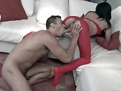 Shemale hottie in red pantyhose fucking