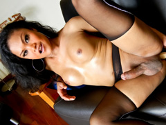 Sexy ladyboy in pantyhose jerk off