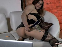 Stunning Jasmine fucking herself with a glass dildo
