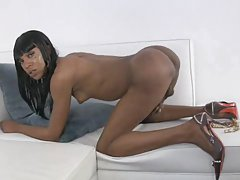 Ebony Tgirl with 10 inch Shecock Strokes and Toys Her Ass