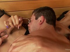 Guy gets fucked and facial by Yasmin Lee in the sauna