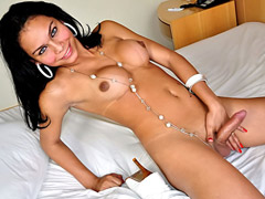 Cute latina tranny enjoys showing off her hot dick for you