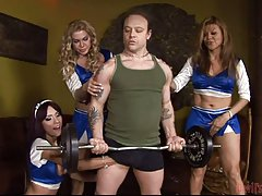 Tgirl cheerleaders attack a body builder