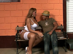 Hung latina tranny in white lingerie fucked