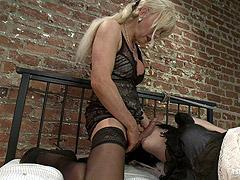 Mature tgirl Joanna Jet fucks horny slut