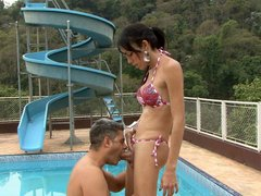 Lusty tranny asks a man to oil her rear before fucking his mouth and butt