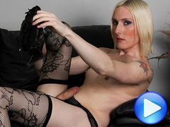 Beautiful blonde tgirl in tattoos strips for your pleasure!