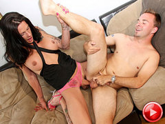 Morgan Bailey gets her dick sucked before ramming it into loverboy's ass